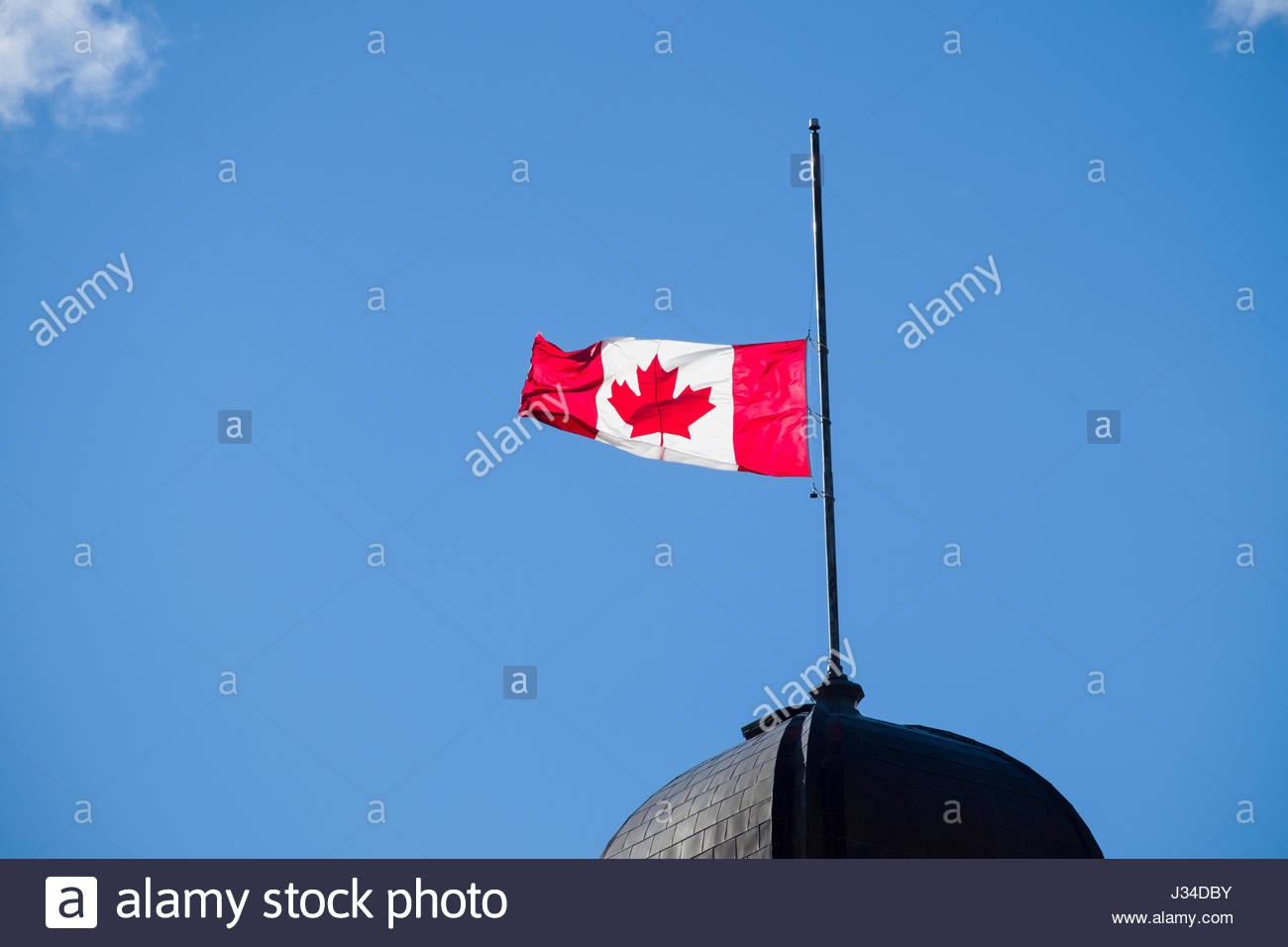 canadian flag half mast stock photos u0026 canadian flag half mast