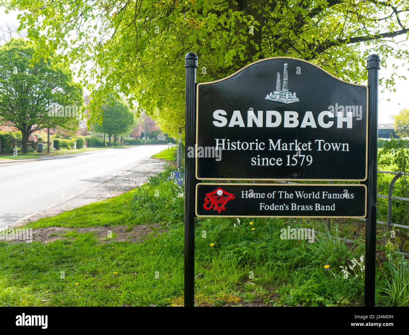 Sandbach Historic Market Town Sign Cheshire UK