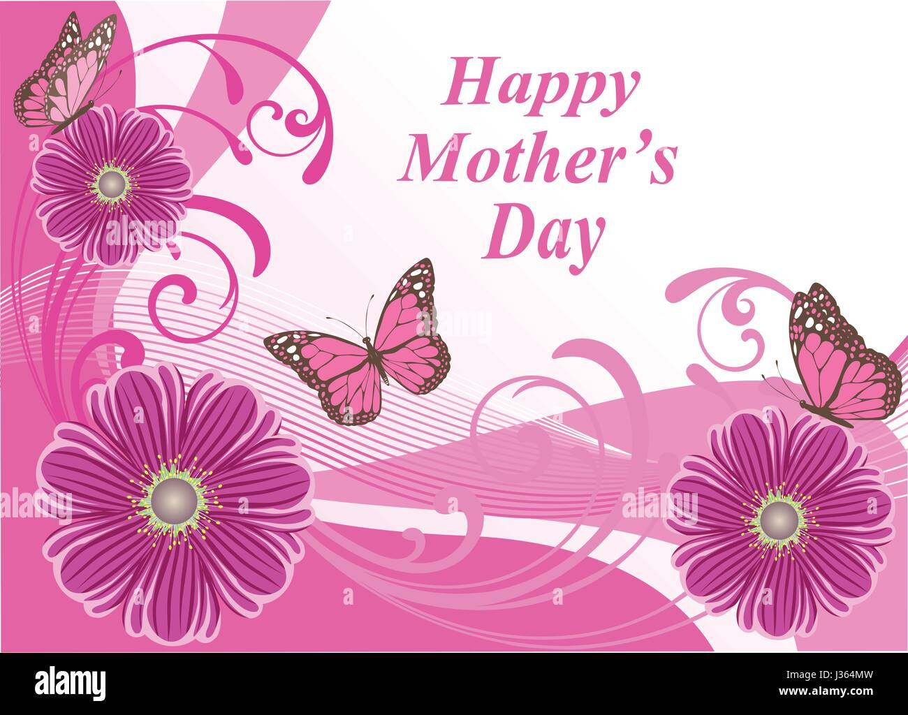 The coloring book of cards and envelopes flowers and butterflies - Vector Illustration Of A Mother S Day Card With Flowers And Butterflies Stock Image