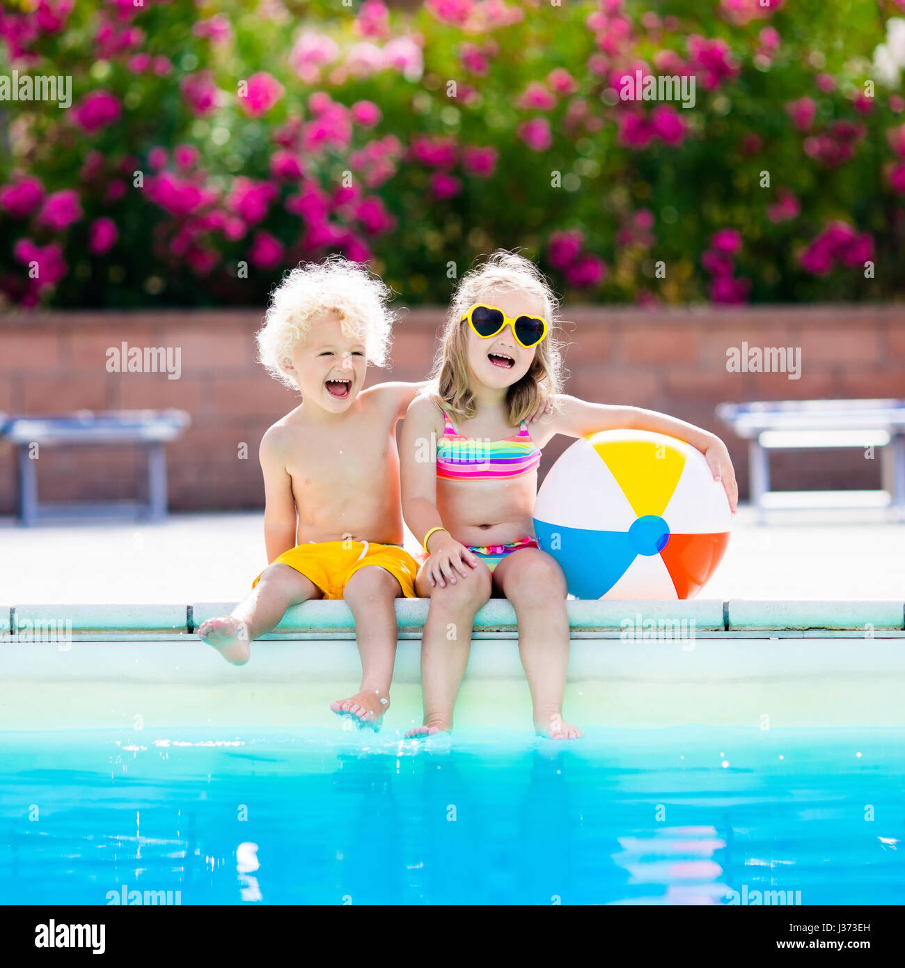 Little Boy Girl In Swimming Stock Photos Little Boy Girl In Swimming Stock Images Alamy