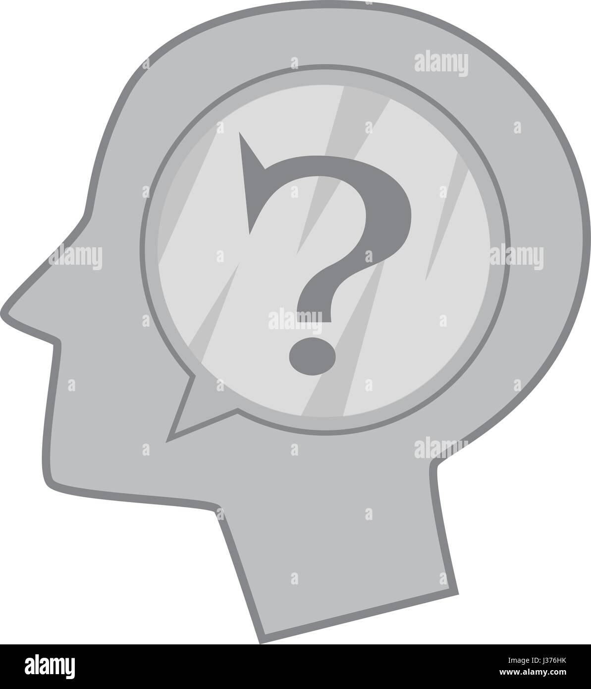 Pics photos clip art cartoon scientist with question mark stock - Head Silhouette With Question Mark Inside Icon Stock Image