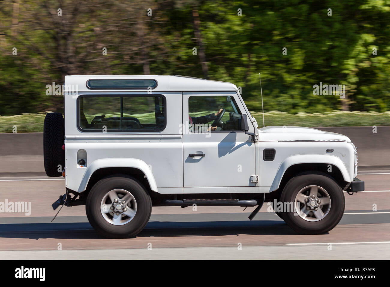 Frankfurt germany march 30 2017 land rover defender 90 driving on the