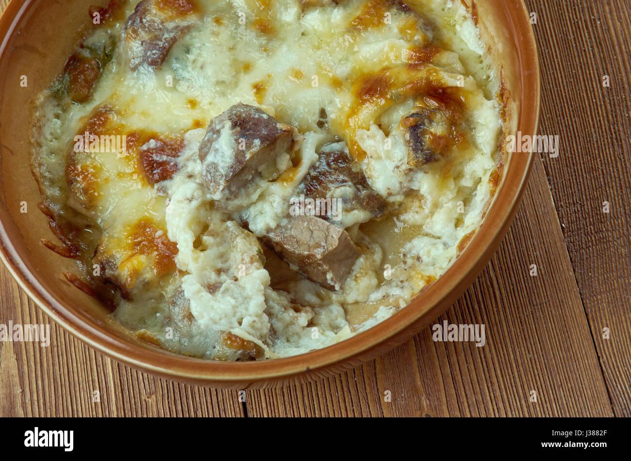 Elbasan tava - Baked lamb in yogurt.Albanian cuisine - Stock Image