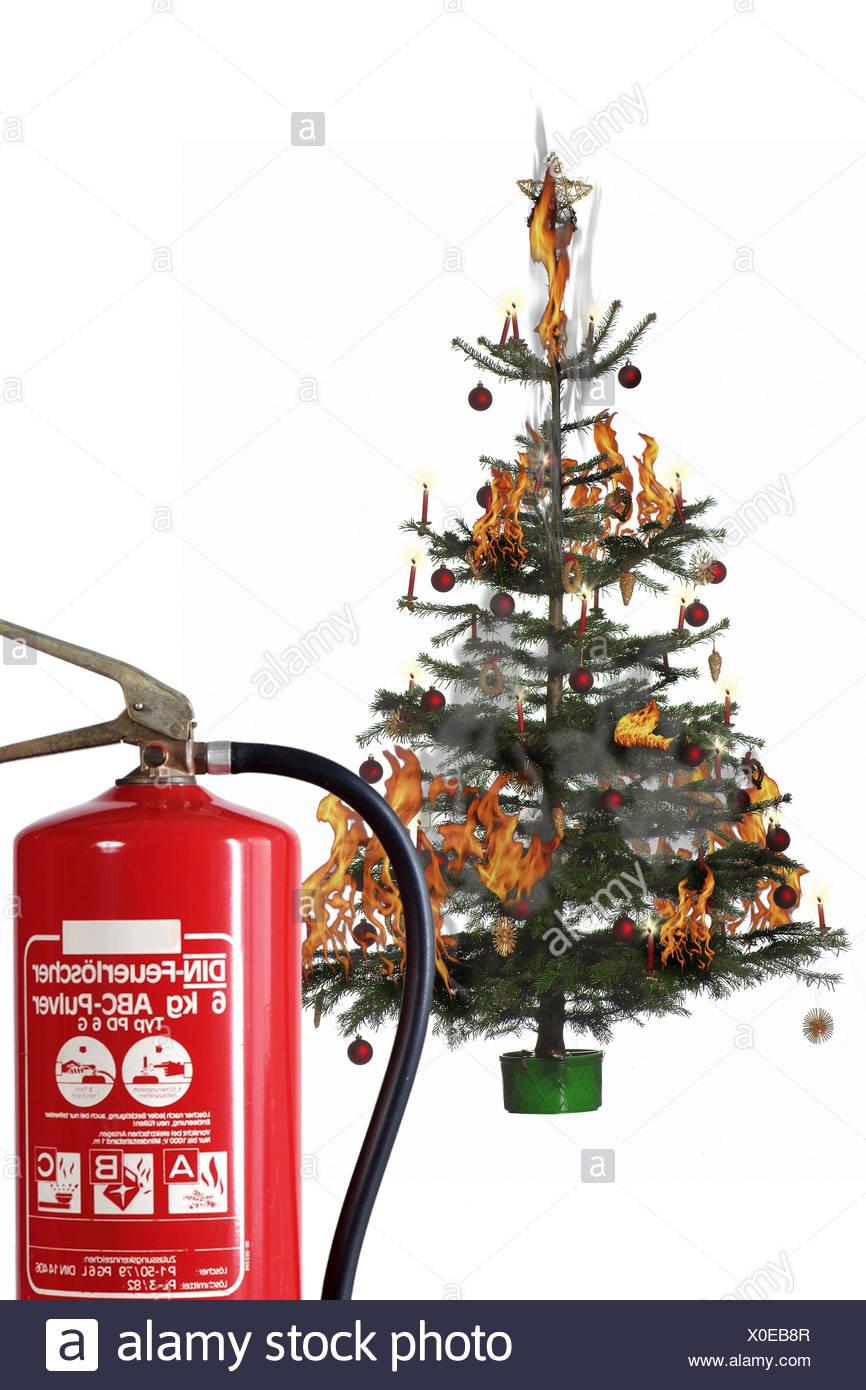 Christmas tree, blast, fire extinguisher, detail, Christmas, yule ...