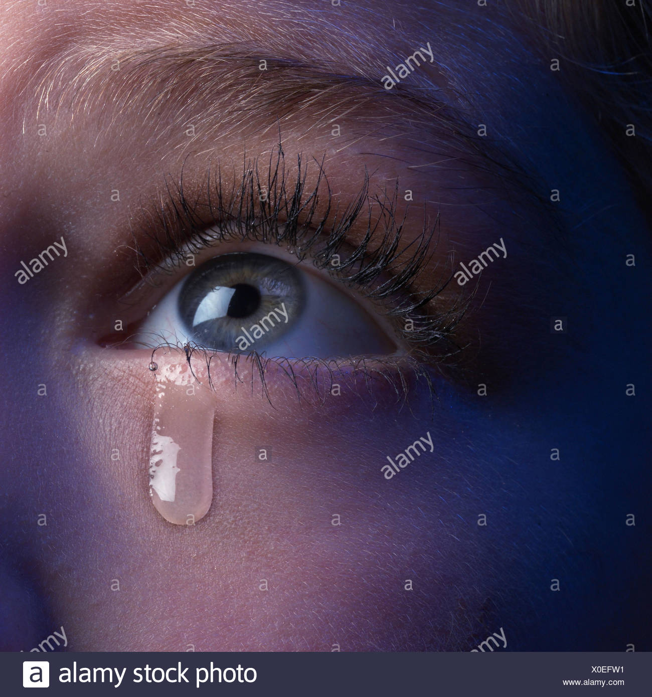 woman look detail eye tear close up young eye area blue eyes