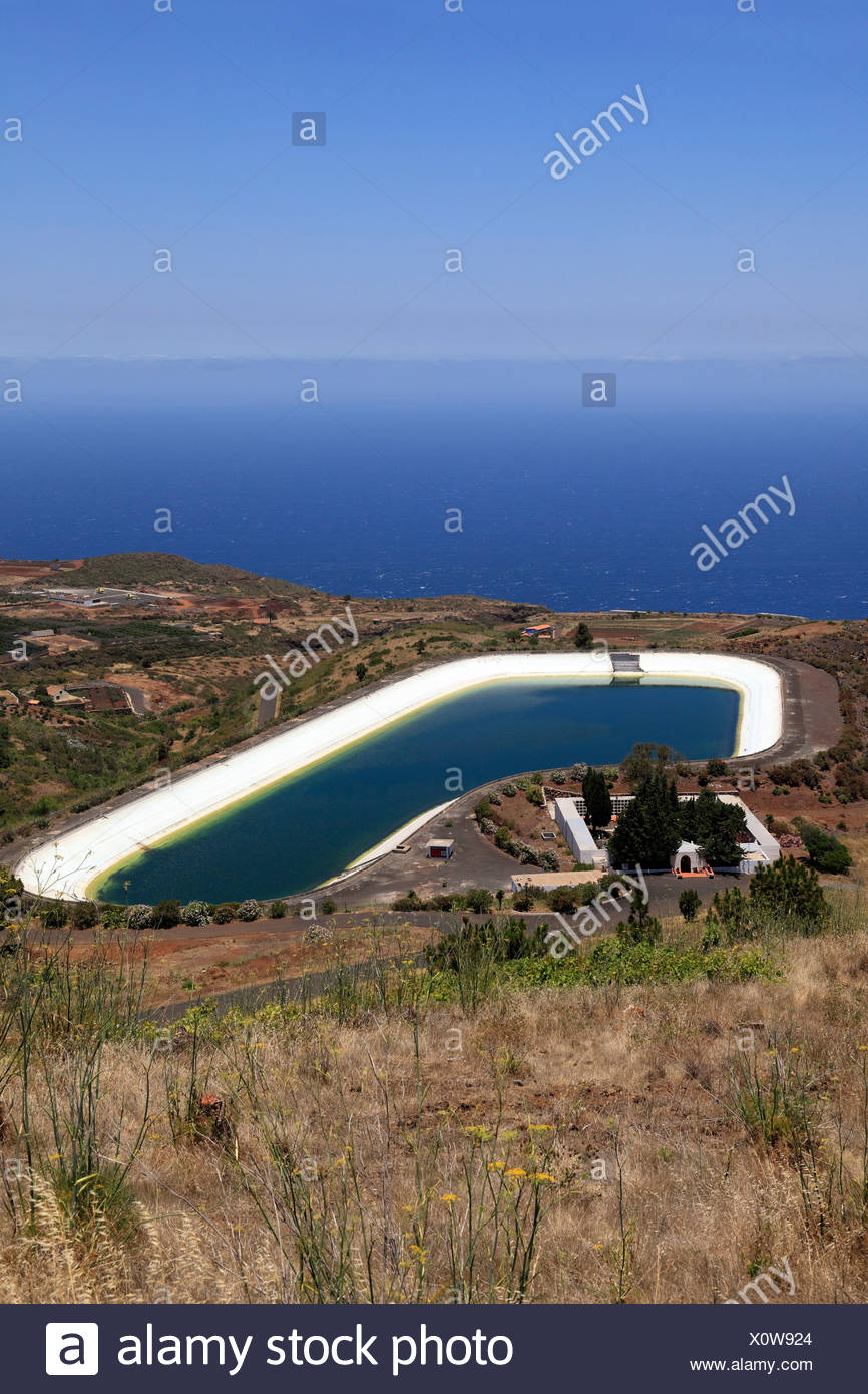 Water Storage Reservoir Above The Atlantic Ocean, Embalse De La Montana De  Arco, Punta Gorda, La Palma, La Isla Verde