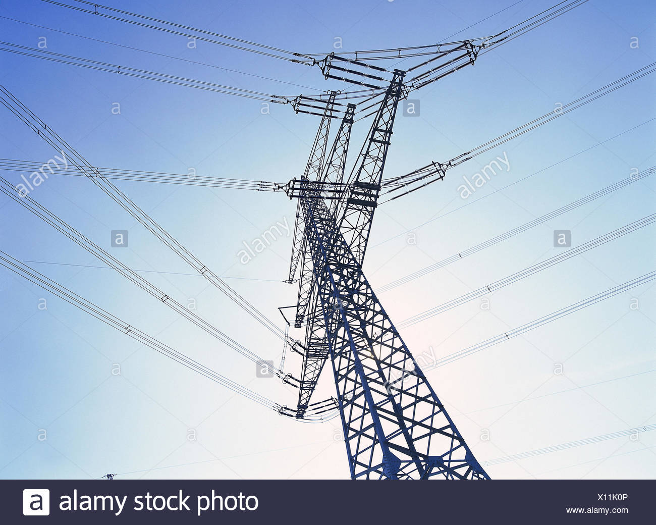 High Voltage Poles Power Supply Lines Energy Current