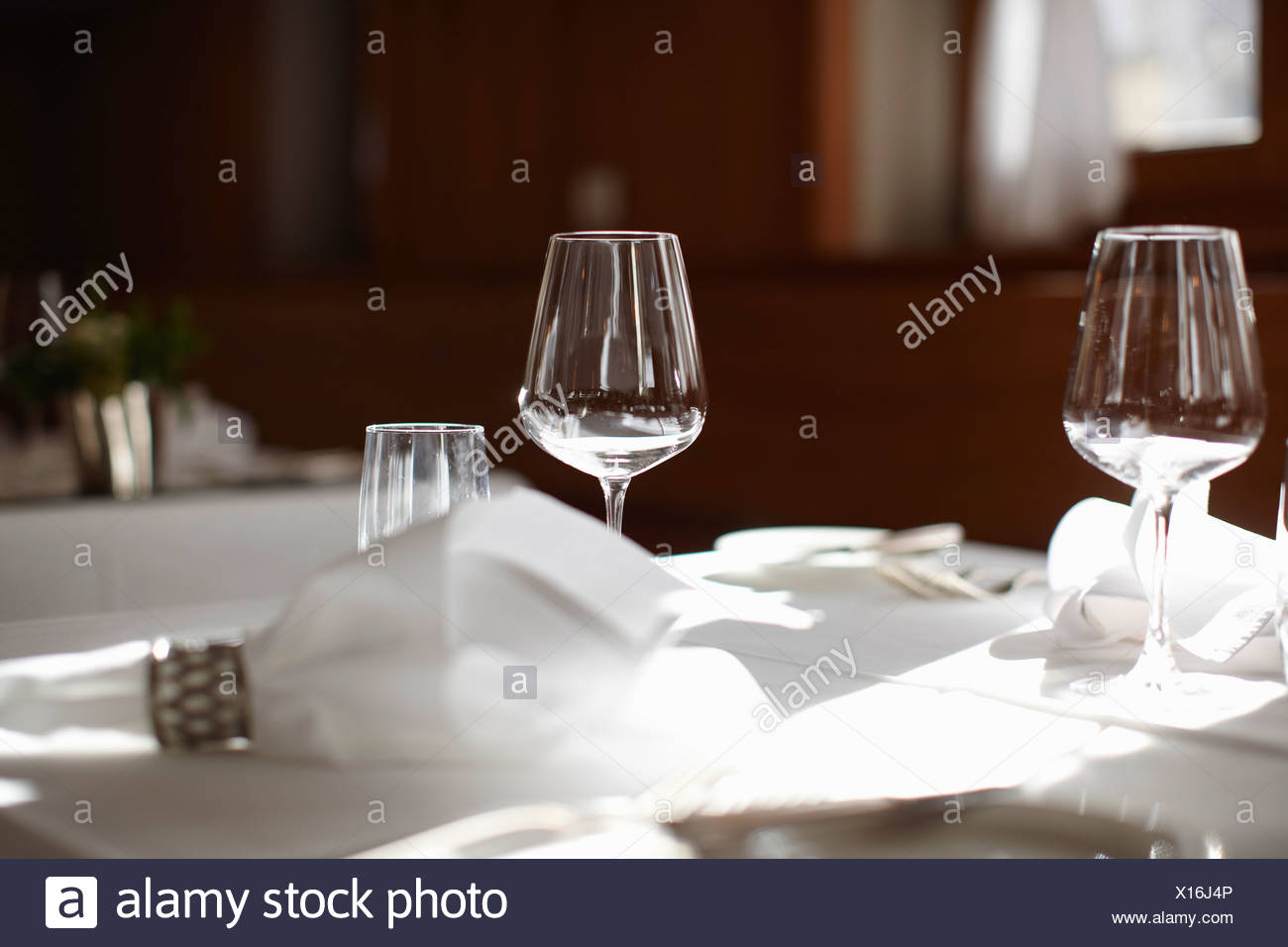 Empty Wine Glass On Table