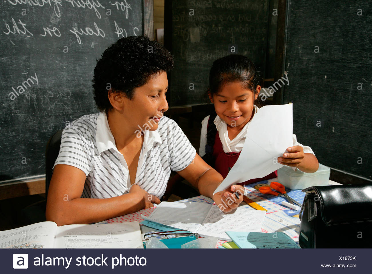 Schoolgirl And Her Teacher During Class Arawak Natives Santa Mission Guyana South America