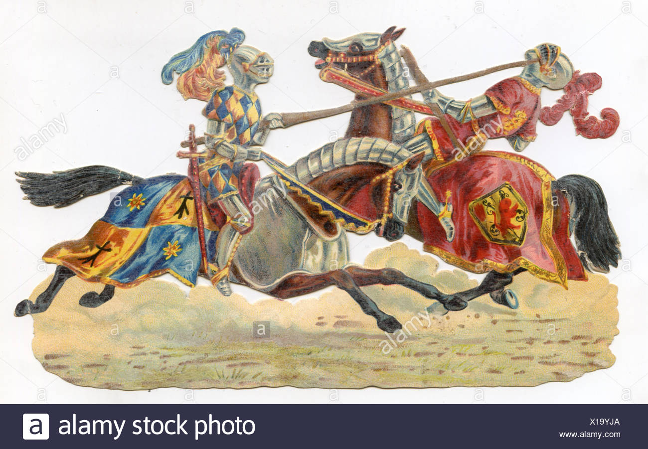 jousting game two jousters on horse back stock photo 276199794 alamy