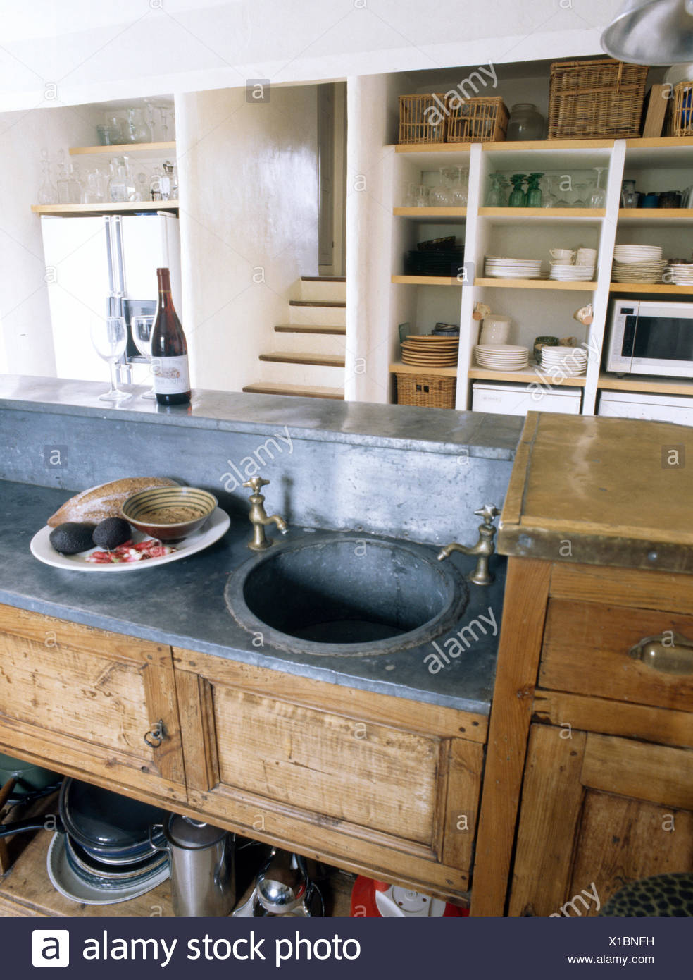 Circular Antique Zinc Sink Set Into Zinc Topped Old Wooden Sideboard In  French Kitchen
