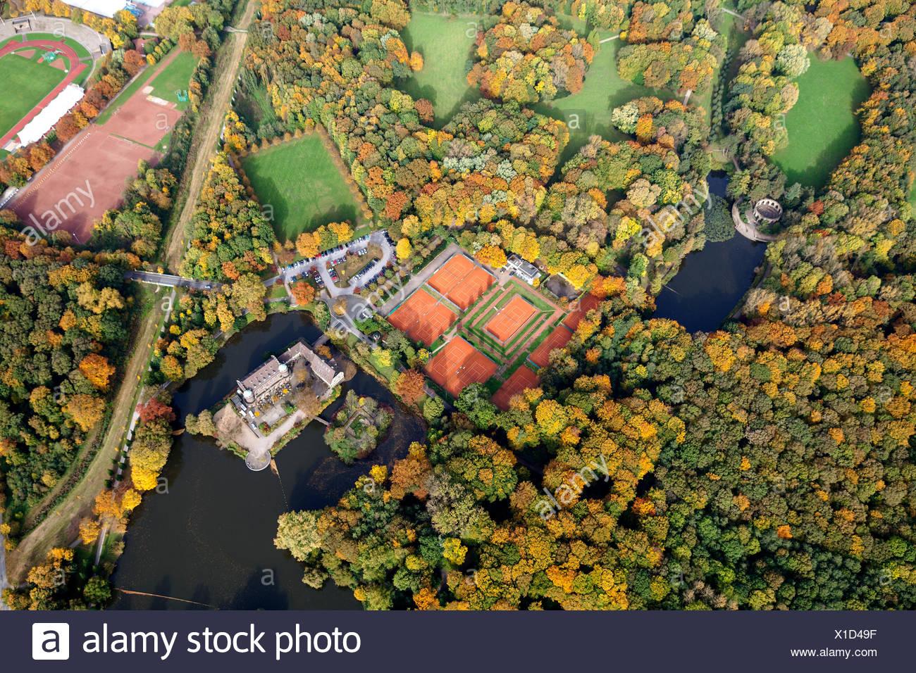 Aerial view, tennis clubhouse, Tennisclub Haus Wittringen TCHW e.V. ...