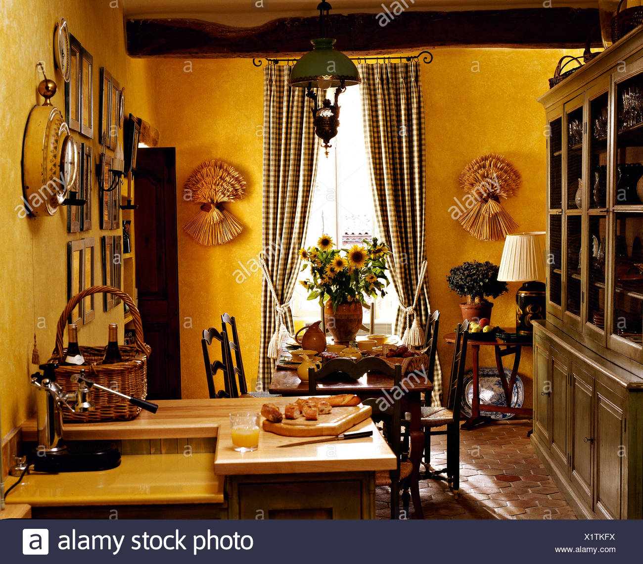 Exceptionnel Large Painted Dresser In Bright Yellow French Country Kitchen Dining Room  With Checked Curtains On The Windows
