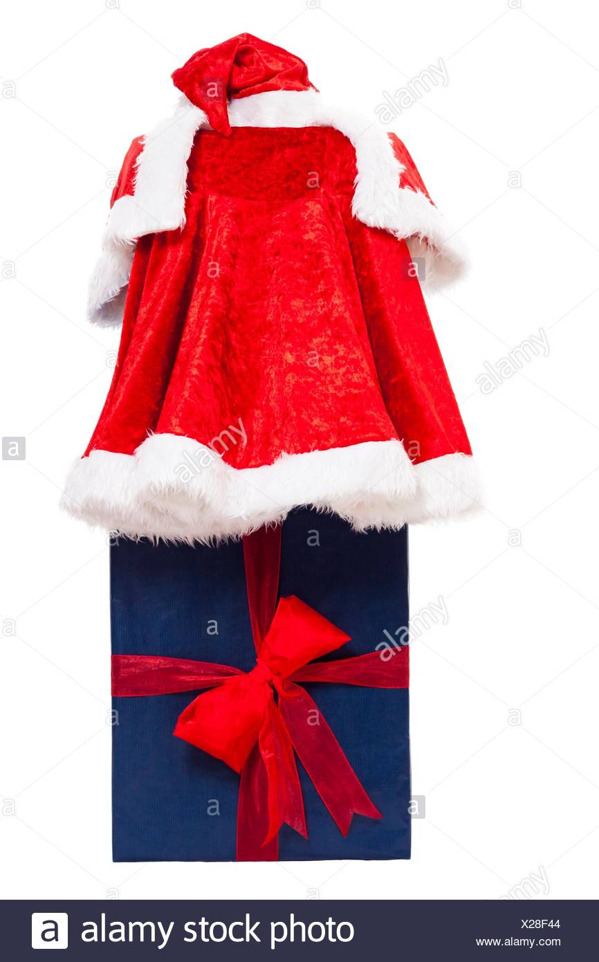 christmas red santa costume and big blue gift box isolated on white background - Big Christmas Gifts