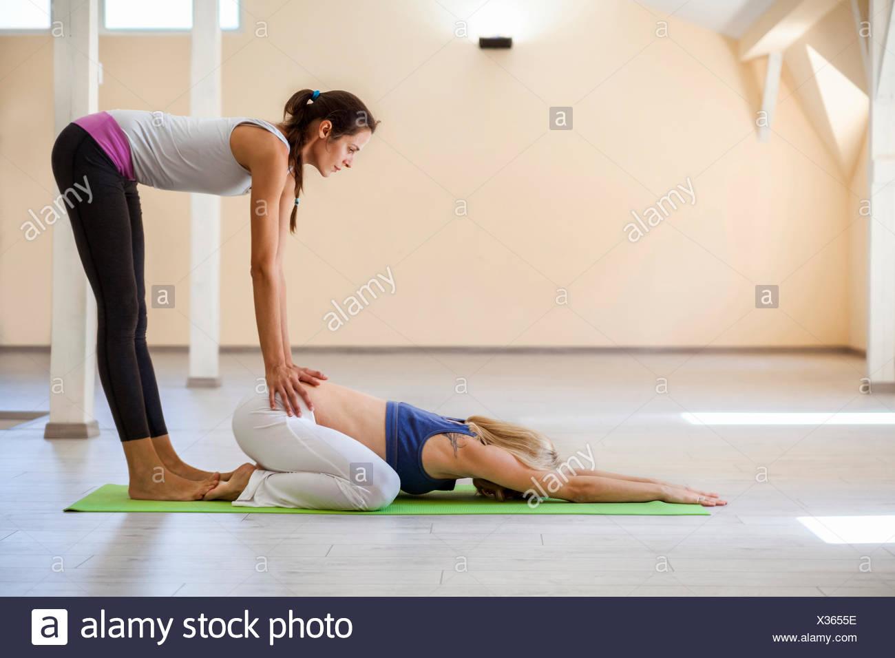 Prenatal Yoga Female Yoga Instructor Child Position Stock Photo