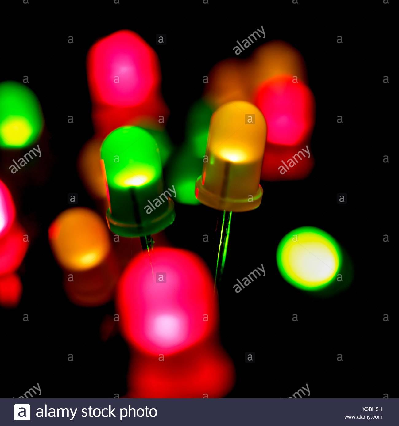Coloured Light Emitting Diodes (LEDs) Against A Black Background.