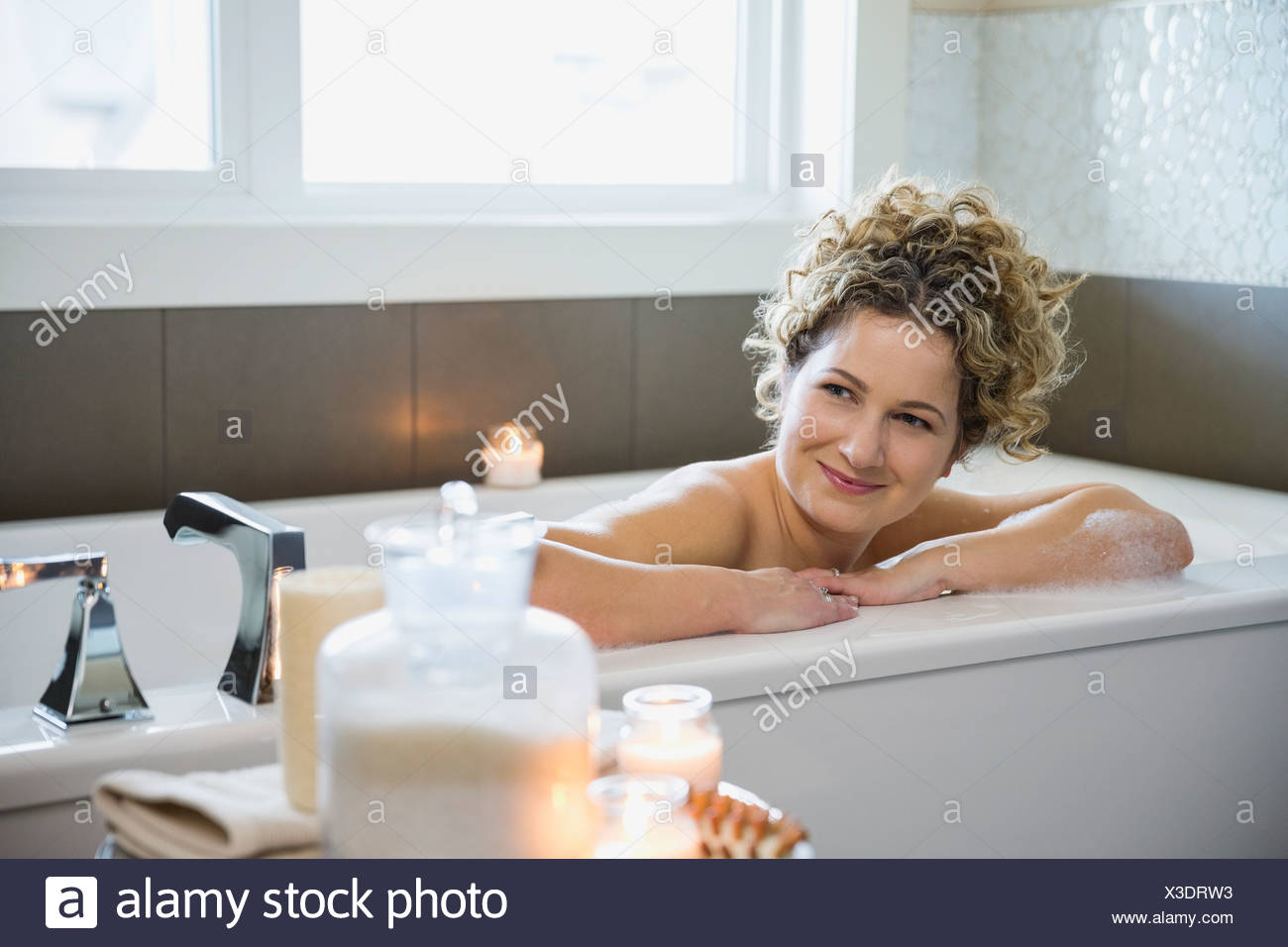 in Mature bathtub woman