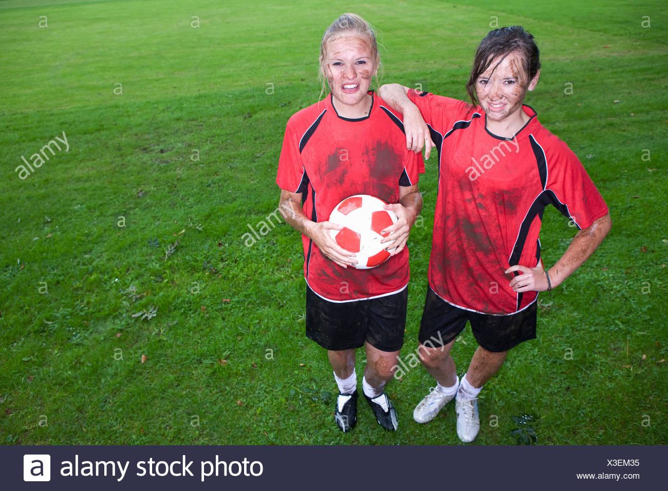 Girls muddy soccer