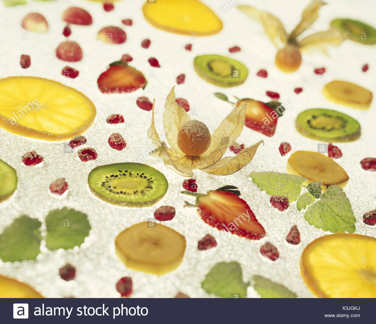Fruits Passed Away Cut Open Icing Sugar Transmitted Light Fruit