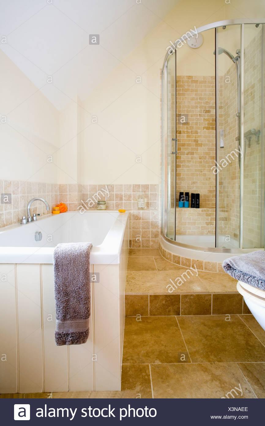 Corner Shower Cabinet With Glass Doors In Split Level Modern Bathroom