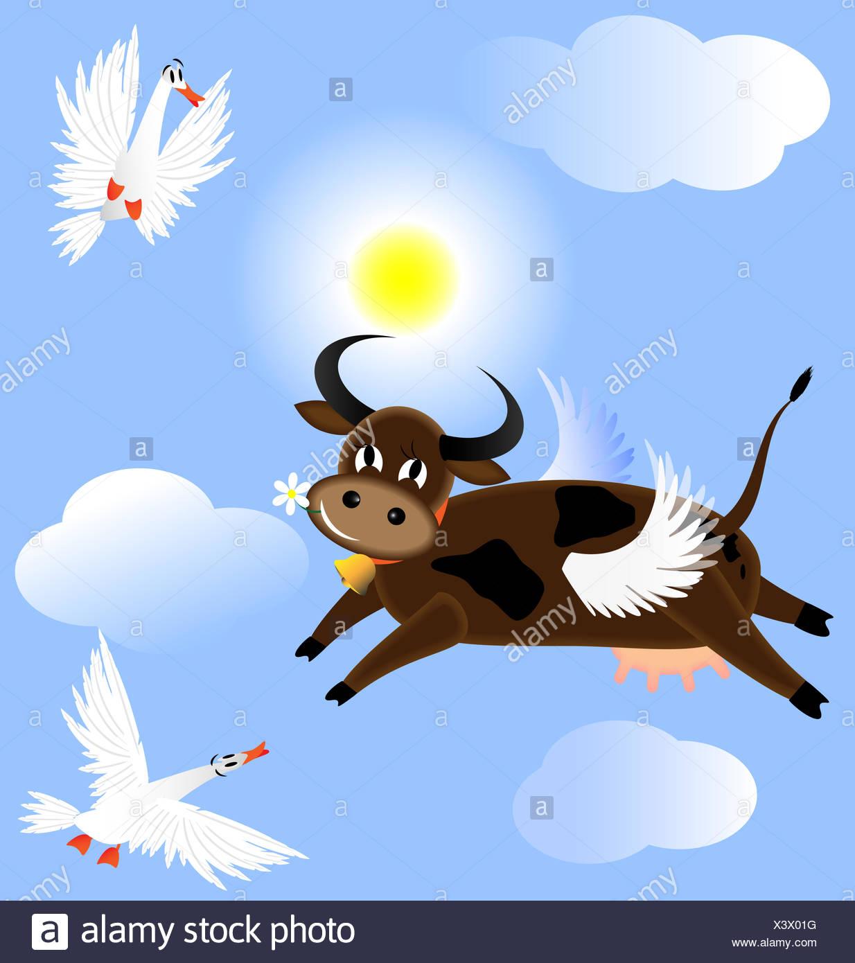 Flying Cow Stock Photo 277780652 Alamy