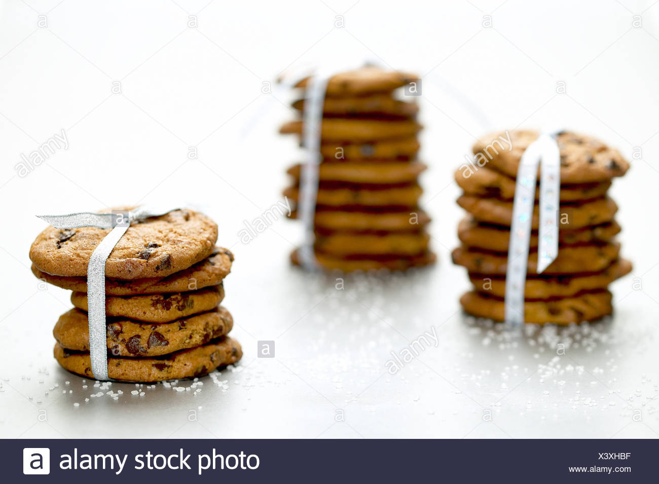 Christmas cookies tied up with ribbons, Iceland Stock Photo ...