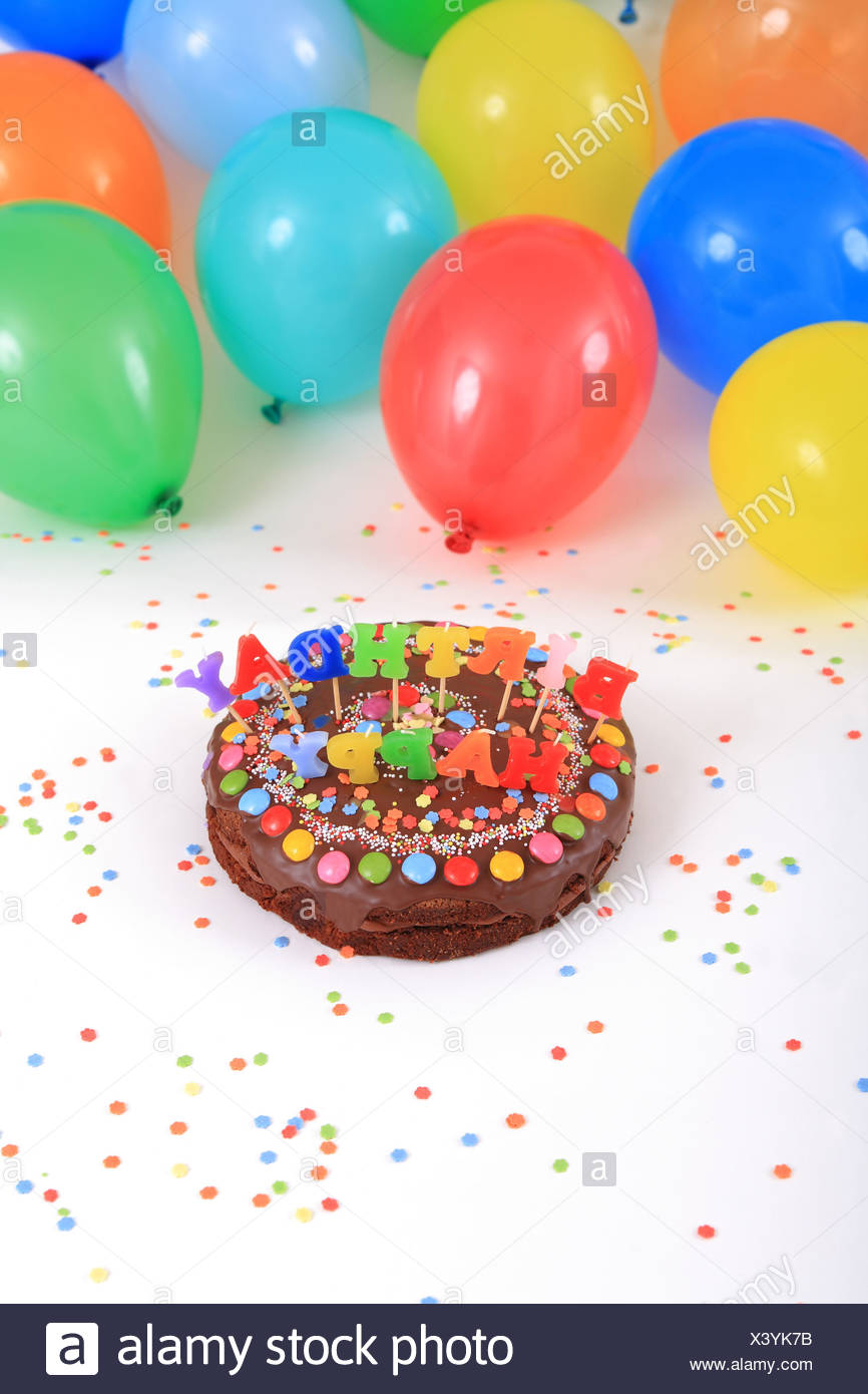 Birthday Cakes Happy Birthday Cake Candles Balloons Party Decoration