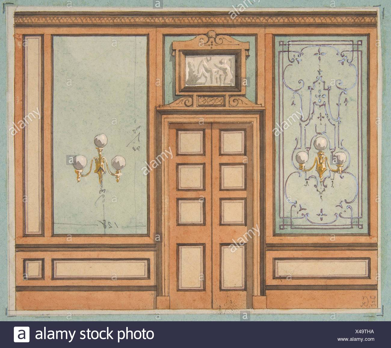 Elevation Of A Paneled Interior With Double Doors And Gaslight