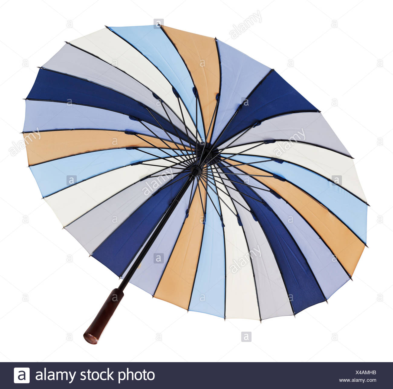View From Below Of Opened Multicolored Umbrella Isolated On White Background