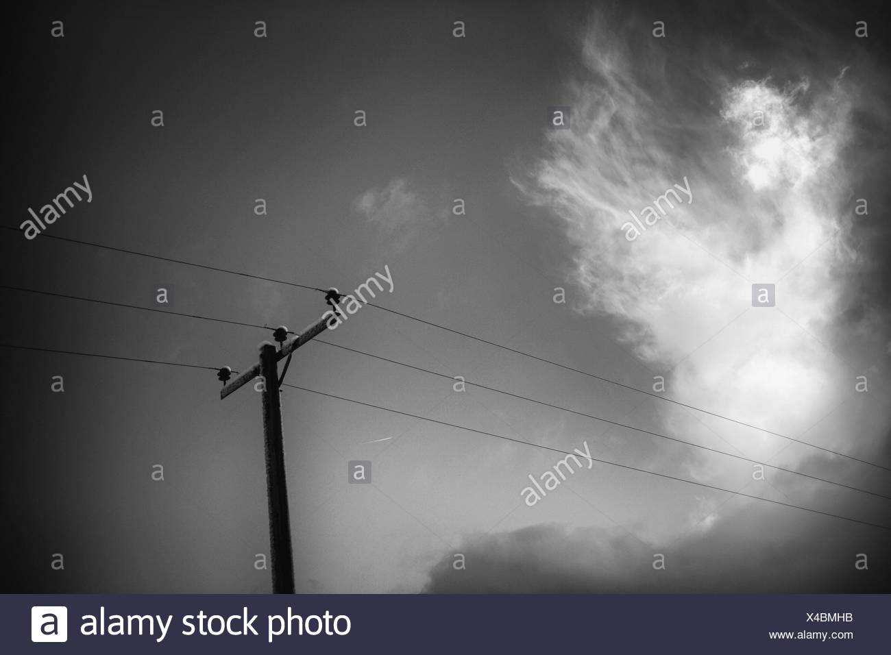 Black And White View Of An Electrical Pole With Wires Clouds In Wiring A Light Fixture Wire The Sky Yorkshire Dales Uk England Europe