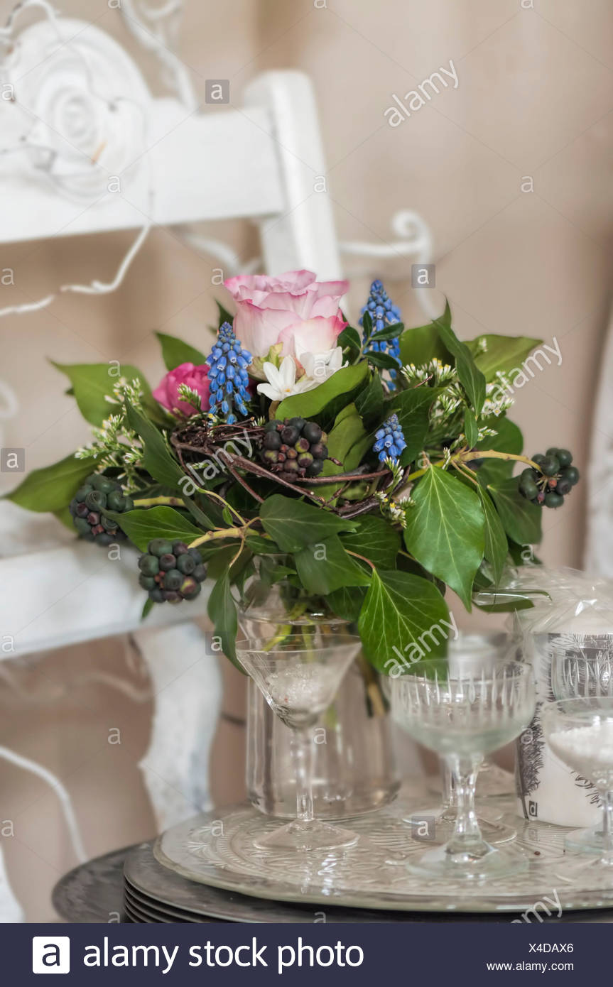 Still Life Bouquet With Roses Spring Flowers And Ivy On Silver
