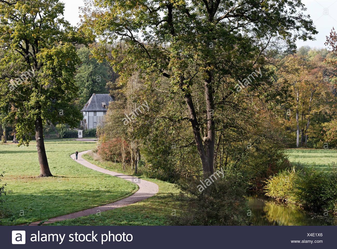 Park on the Ilm River, Goethe\'s garden house, Weimar, Thuringia ...