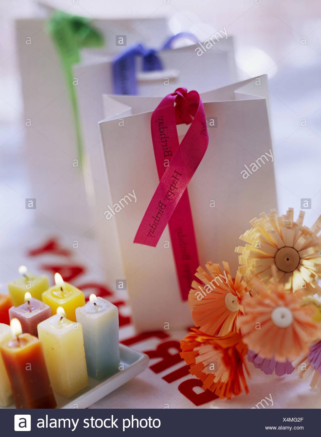 Birthday decorations paper flowers candles etc stock photo birthday decorations paper flowers candles etc izmirmasajfo