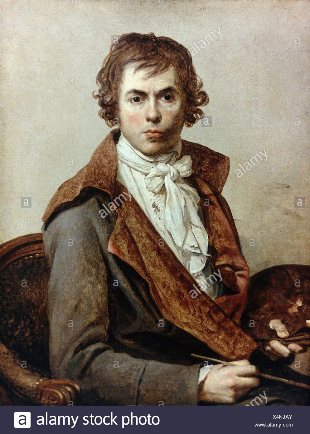 David, Jacques-Louis, 31.8.1748 - 24.12.1825, French painter, self-half  length, 81 cm x 64 cm, 1794, Louvre, Paris, Additional-Rights-Clearances-NA