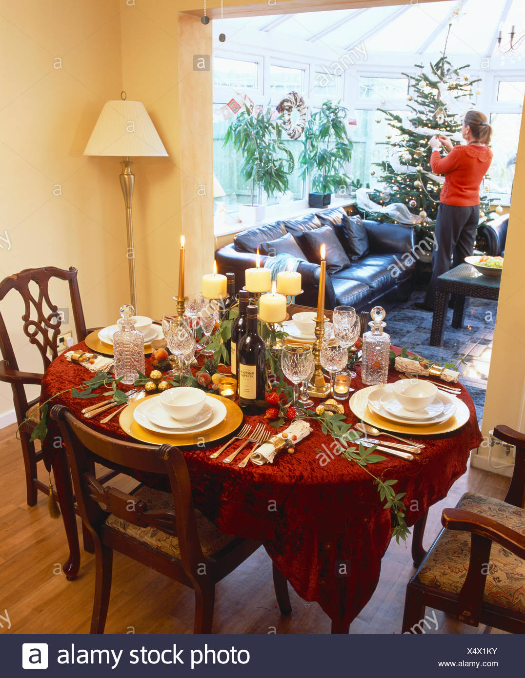 Table decorated and set for Christmas dinner in traditional dining room with woman decorating tree in conservatory extension & Table decorated and set for Christmas dinner in traditional dining ...