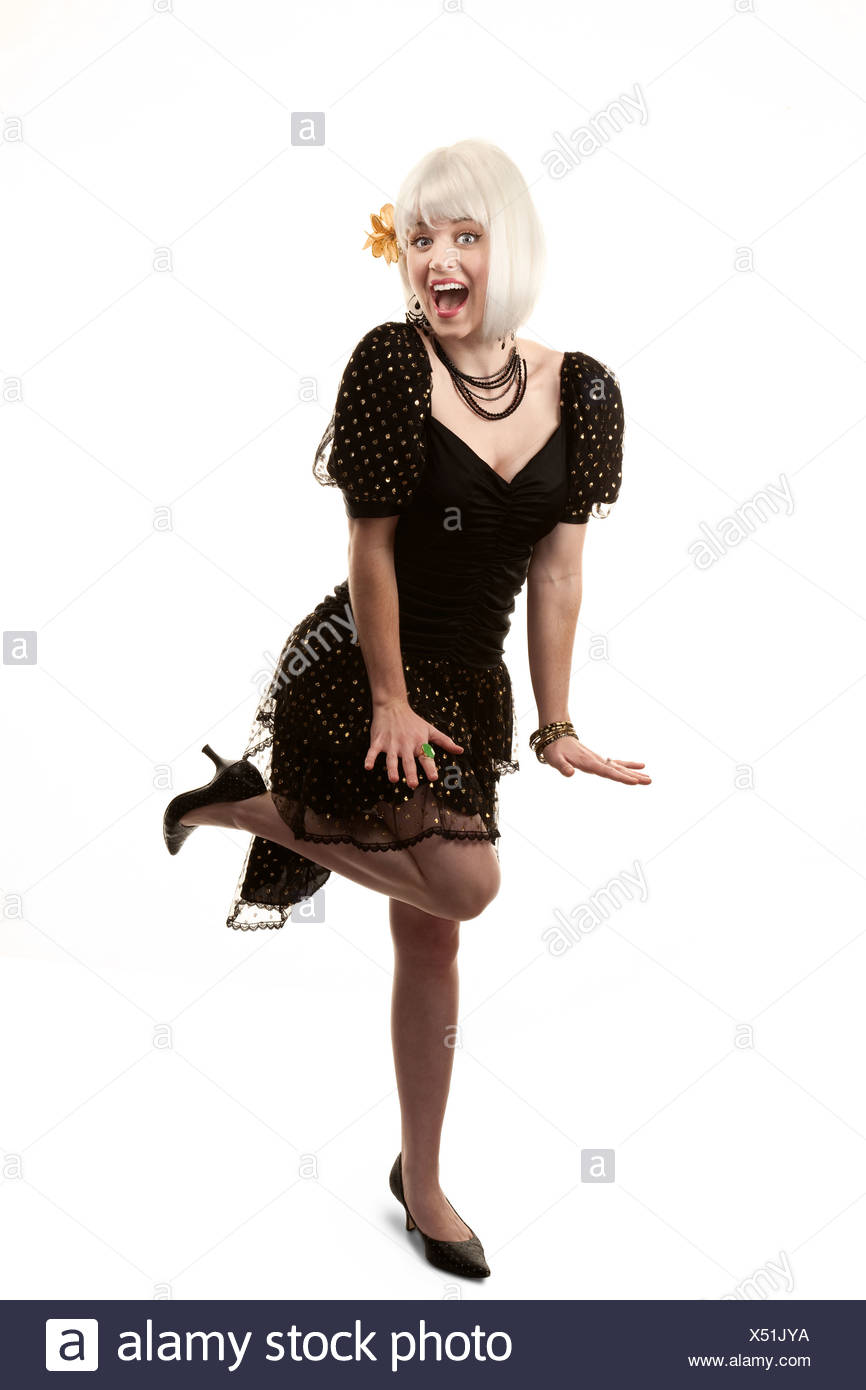 Retro Woman With White Hair In 80s Or 90s Style Stock Photo