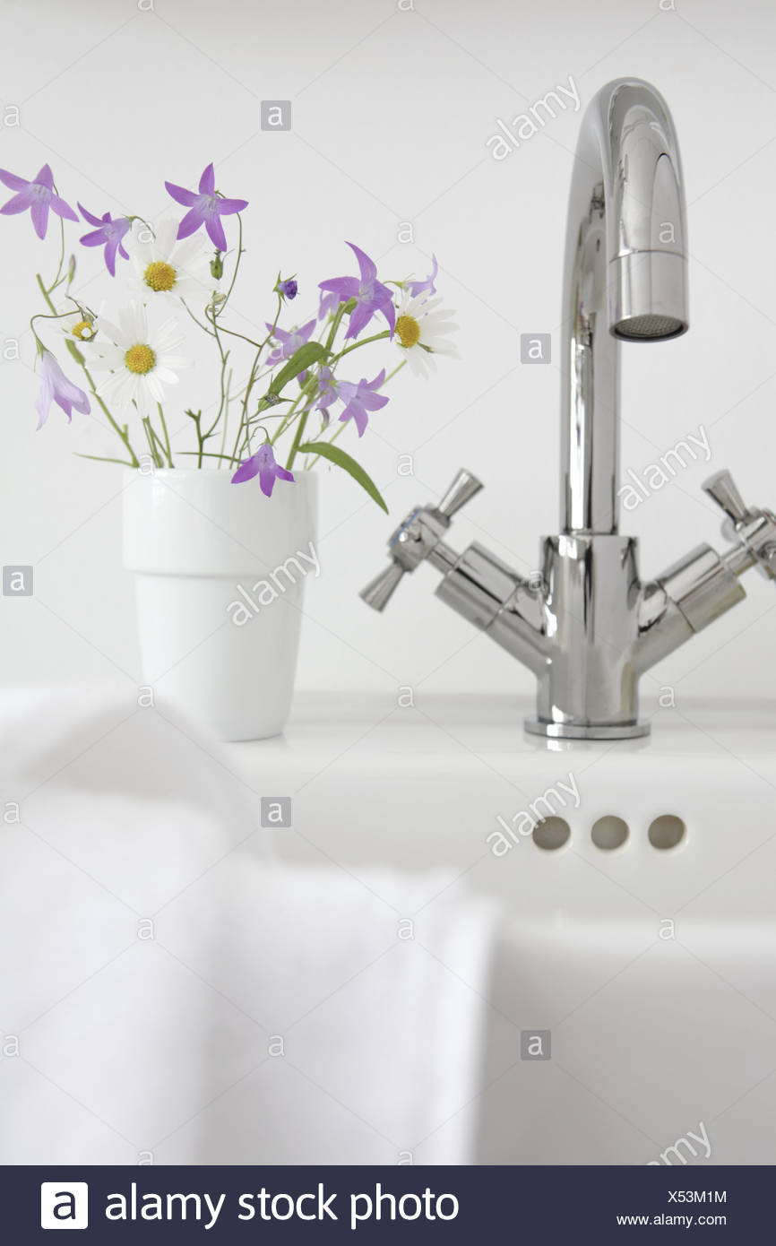 Still life bathrooms wash basins faucet towel flowers bath wash still life bathrooms wash basins faucet towel flowers bath wash table cup bloom flower bouquet bluebells daisies health izmirmasajfo