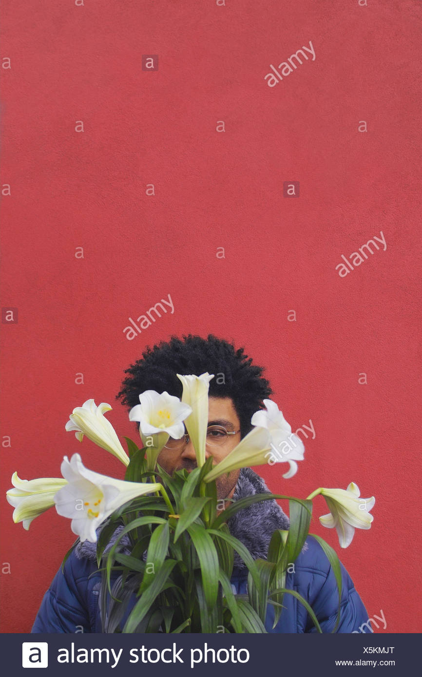 Man Young Swarthily Face Flower Bouquet Covers Portrait Mens