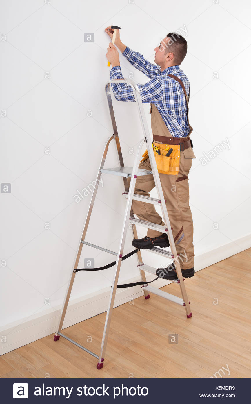 Full length of young male foreman on ladder hammering wall with nail ...