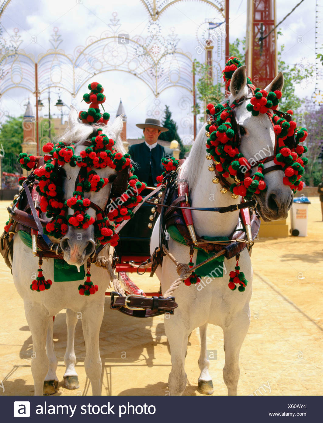 Andalusia Feria Party Fete Jerez De La Frontera Man No Model Release Horse Coach Spain Europe