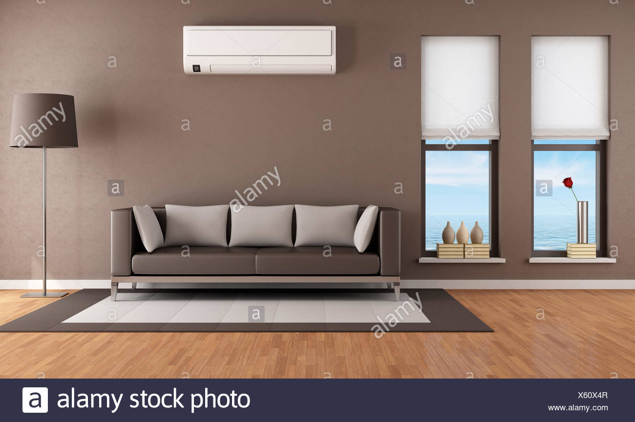 Contemporary Brown Living Room With Air Conditioner   Rendering