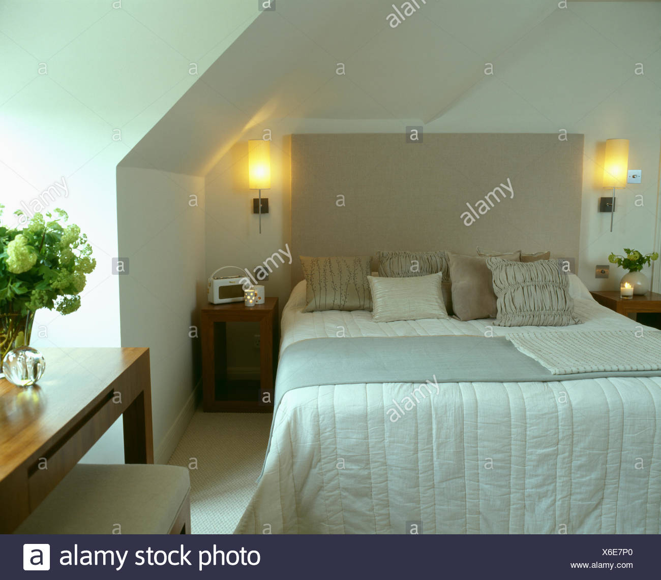 Lighted Walllights On Either Side Of Bed With Upholstered Head - Bedroom side lights