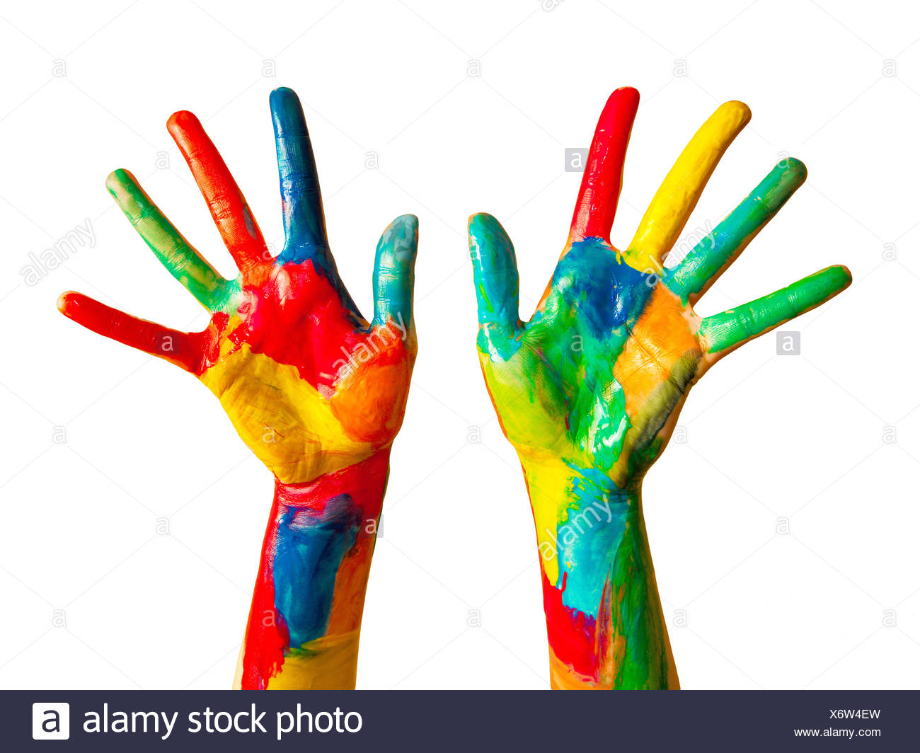 painted hands colorful fun isolated stock photo 279606177 alamy