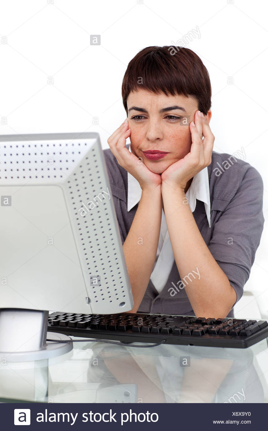 bored businesswoman looking at her computer stock photo 279632388