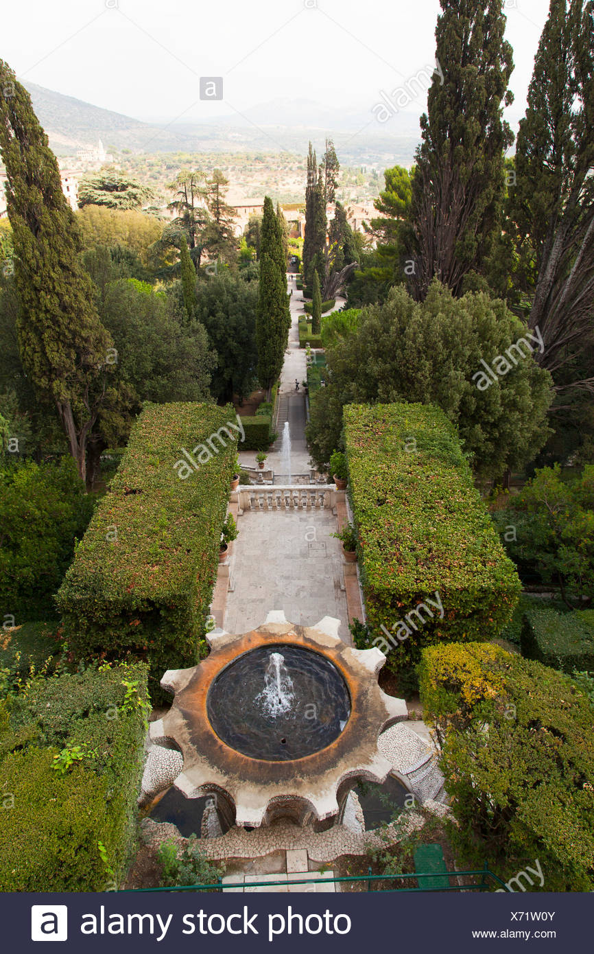Fountain of the Bicchierone and the gardens seen from above at Villa ...