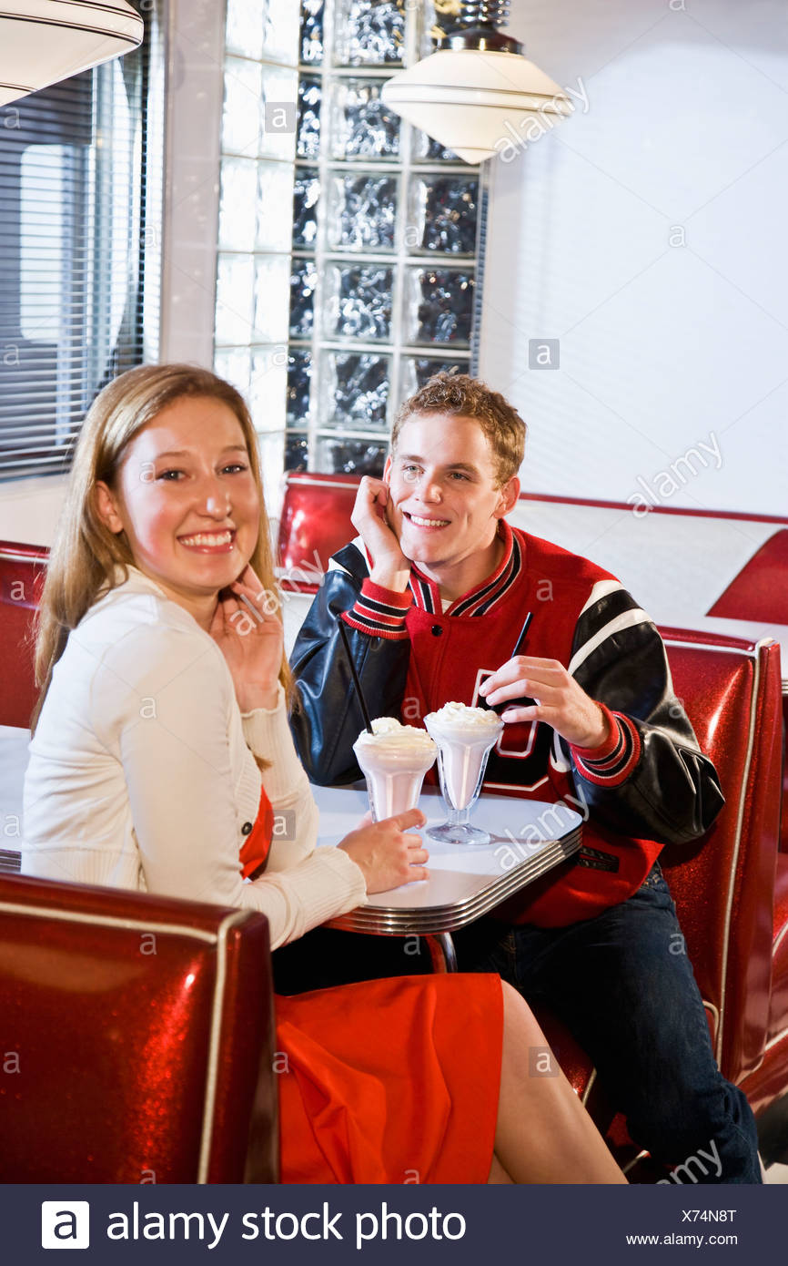 Retro Style 1950s Couple In Diner