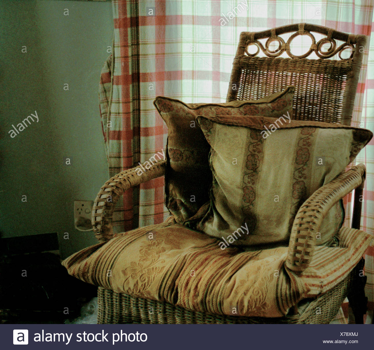 Victorian Wicker Chair With Velvet Cushions
