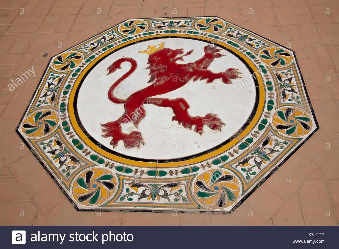 Ceramic Figure Of A Lion On The Floor In The Plaza De Espana