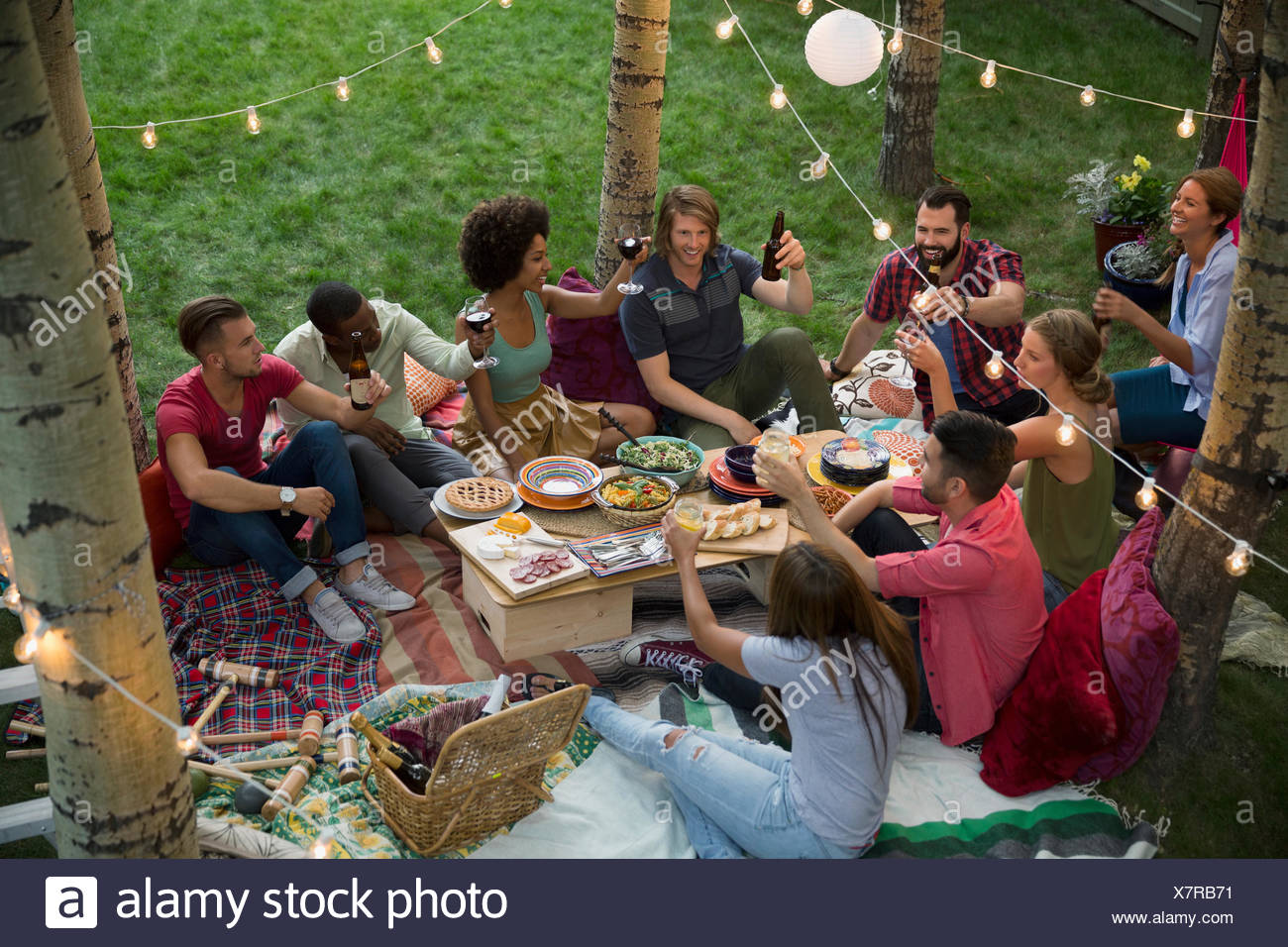 Backyard Dinner Party friends toasting drinks at backyard dinner party stock photo