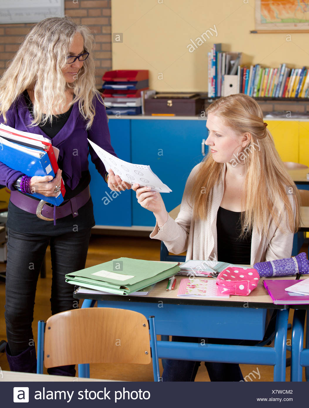 handing out test papers stock photo 280227250 alamy